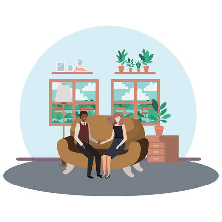 business couple sitting in livingroom avatar character vector illustration design