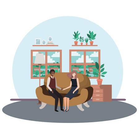 business couple sitting in livingroom avatar character vector illustration design