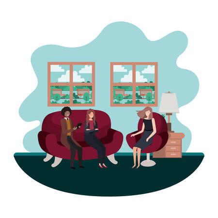 group of people bussiness sitting in livingroom vector illustration design Vetores