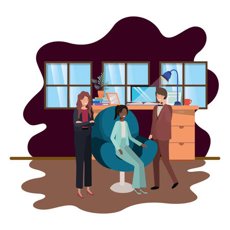 group of people business in the work office vector illustration design Illustration