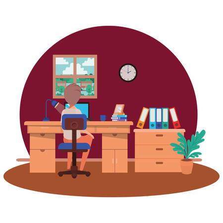 man working in the office avatar character vector illustration design