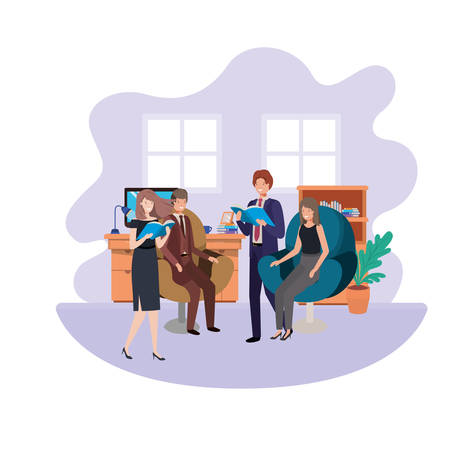 group of people business in the work office vector illustration design 向量圖像