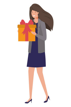 young woman with gift box avatar character vector illustration design
