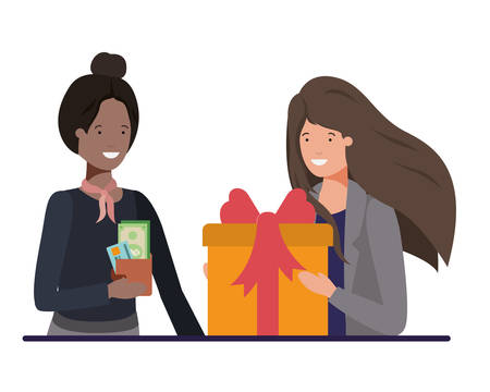 women with wallet and gift box avatar character vector illustration desing