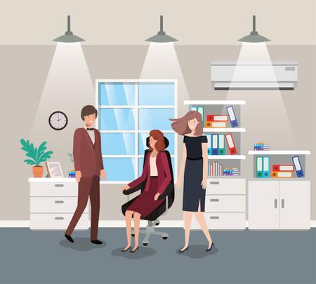 corridor office with business people teamwork vector illustration design