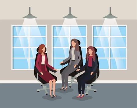 corridor office with businesswomen sitting vector illustration design