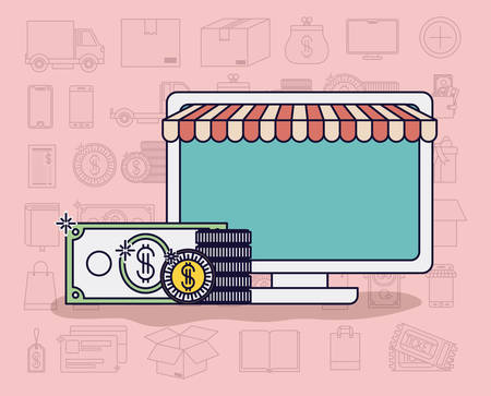 computer with parasol and ecommerce icons vector illustration design Illustration