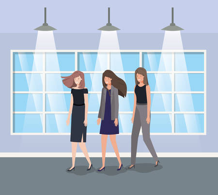 businesswomen group in corridor office vector illustration design