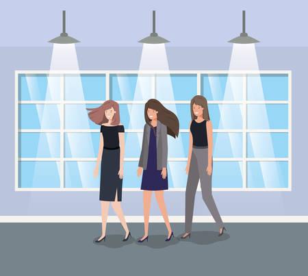 businesswomen group in corridor office vector illustration design