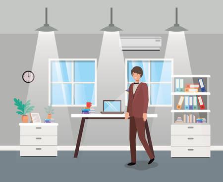 modern office with businessman vector illustration design