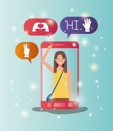 woman in smartphone with social media bubbles vector illustration Ilustração
