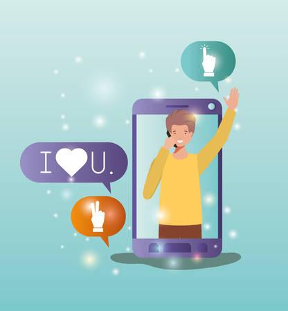 man in smartphone with social media bubbles vector illustration design