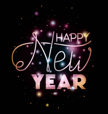 happy new year lettering with lights vector illustration design