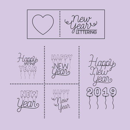 happy new year lettering card vector illustration design Stok Fotoğraf - 111891044