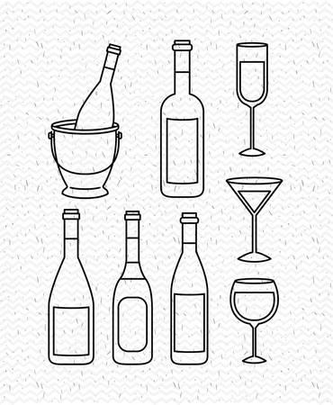 champagne set bottles with cups vector illustration design