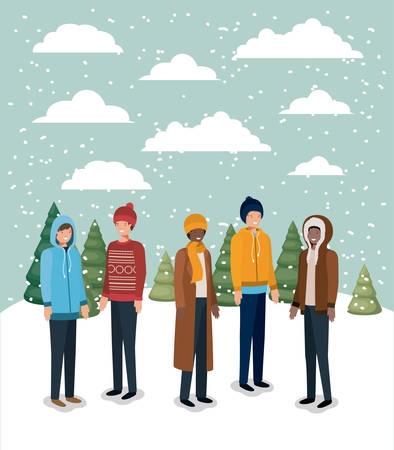 group of men in snowscape with winter clothes vector illustration design