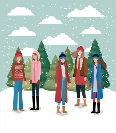 group of women in snowscape with winter clothes vector illustration
