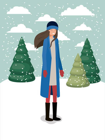 woman in snowscape with winter clothes vector illustration design Ilustração
