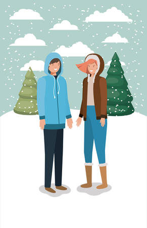 couple in snowscape with winter clothes vector illustration design Illustration