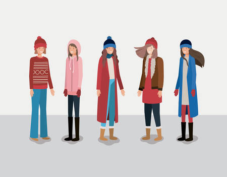 group of women with winter clothes vector illustration design