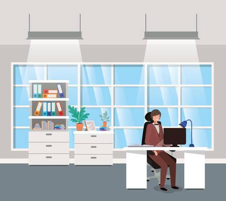 modern office with businessman sitting vector illustration design