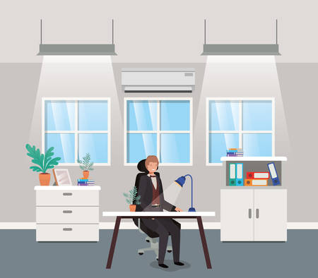 modern office with businessman sitting vector illustration design