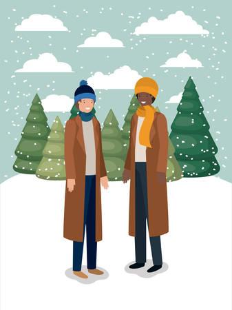 couple of men in snowscape with winter clothes vector illustration design Ilustração