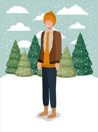 man in snowscape with winter clothes vector illustration design