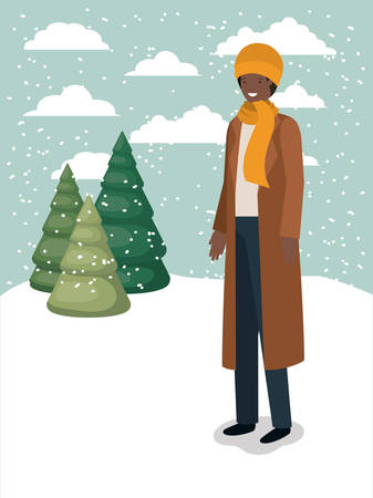 black man in snowscape with winter clothes vector illustration design