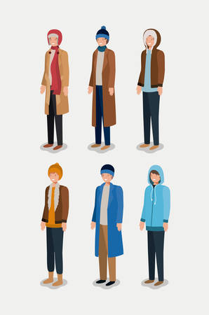 group of men with winter clothes vector illustration design