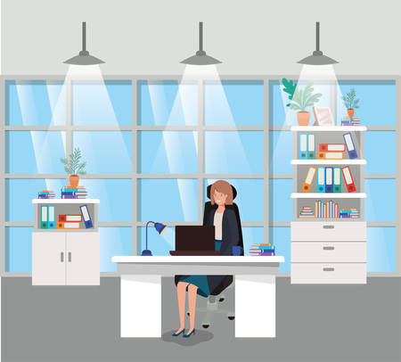 modern office with businesswoman sitting vector illustration design Vectores