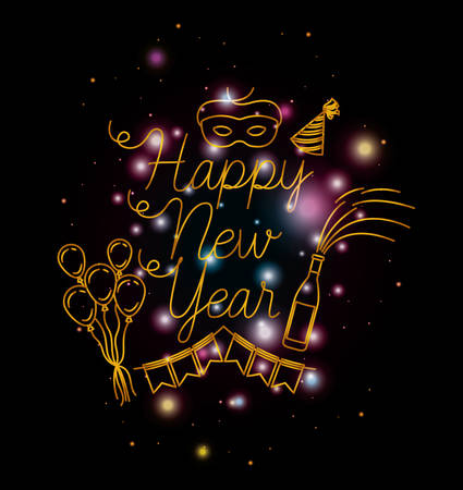 happy new year lettering with lights and icons vector illustration design
