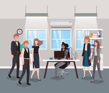 modern office with business people vector illustration design
