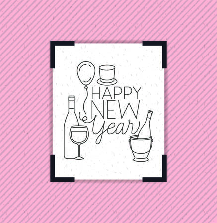 happy new year frame with party icons vector illustration design