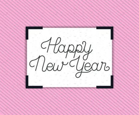 square frame with happy new year lettering vector illustration design