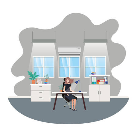 businesswoman in the work office avatar character vector illustration desing Illustration