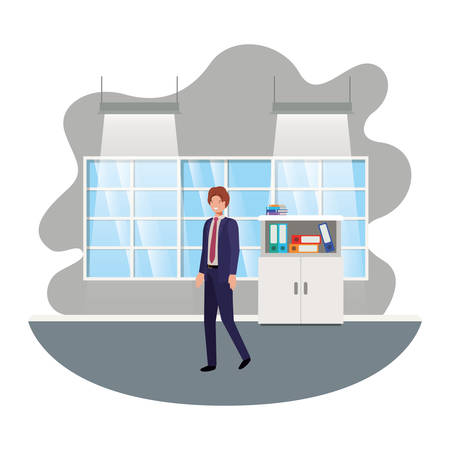 businessman in the work office avatar character vector illustration desing