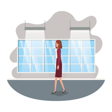 businesswoman with wall and windows avatar character vector illustration desing 向量圖像