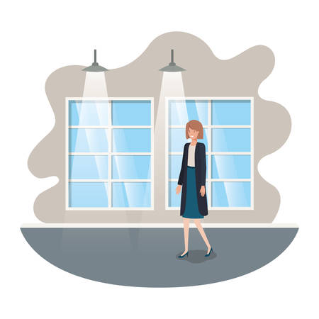 businesswoman with wall and windows avatar character vector illustration design
