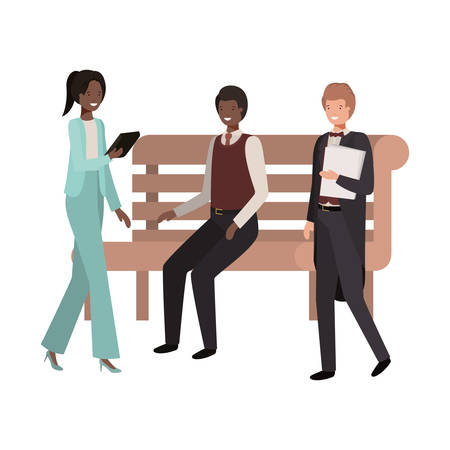 group of business in park chair avatar character vector illustration desing