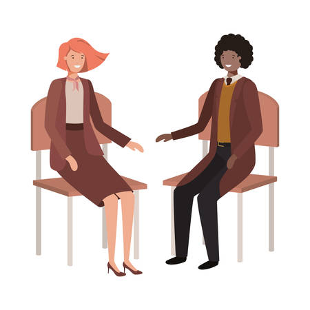 couple of business sitting in chair avatar character vector illustration desing