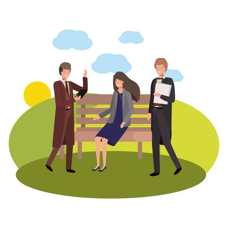 group of business in park chair with landscape vector illustration desing