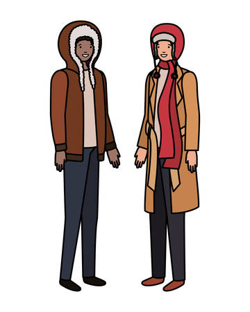 Les hommes avec des vêtements d'hiver caractère avatar design illustration vectorielle