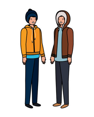 men with winter clothes avatar character vector illustration design