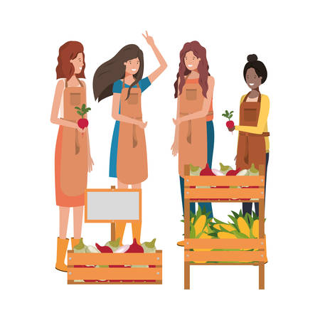 women with kiosk avatar character vector illustration desing Çizim