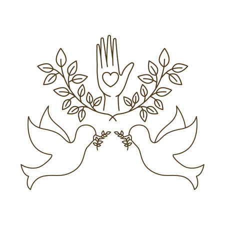 open hands with human rights with heart avatar character vector illustration design Banque d'images - 127692198