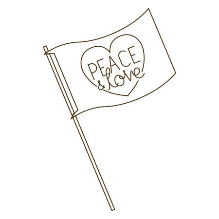 peace and love on flag isolated icon vector illustration design