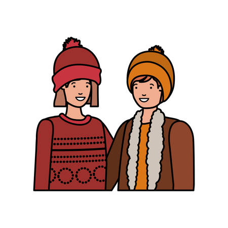 couple with winter clothes avatar character vector illustration design
