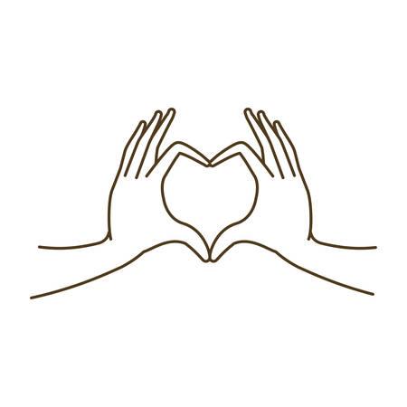 hands forming a heart symbol avatar character vector illustration design Vektorové ilustrace
