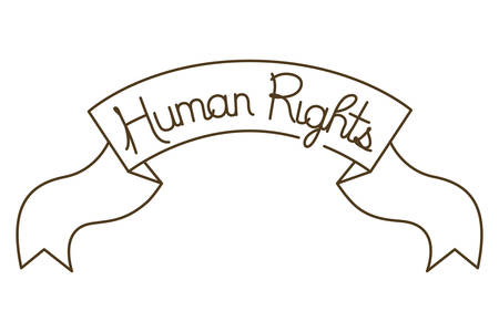 human rights on tape isolated icon vector illustration design